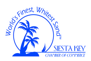 Siesta Key Chamber of Commerce logo in blue and white. World's Finest, Whitest Sand TM