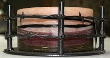 Authentic barbed wire metal candle holder made in Texas