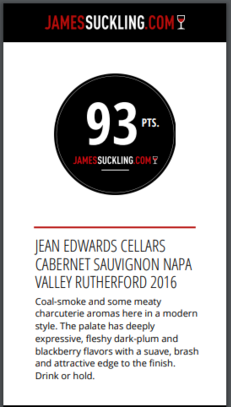 James Suckling 93 points - 2016 Rutherford Cabernet