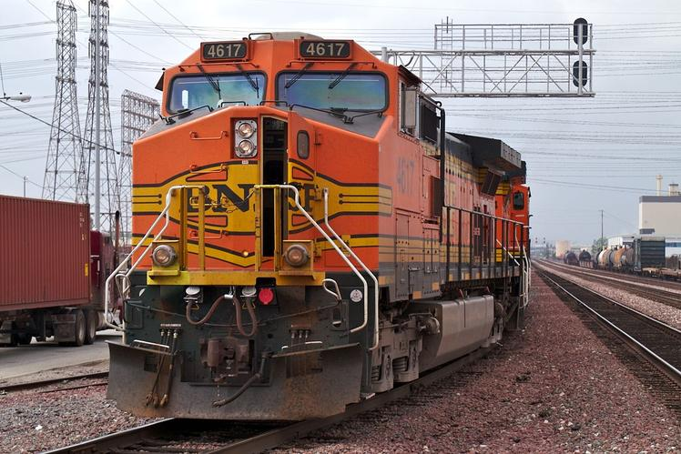 BNSF Railway GE C44-9W No. 4617, at Commerce, California.