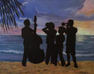 Acrylic Painting - Negril Band at Sunset