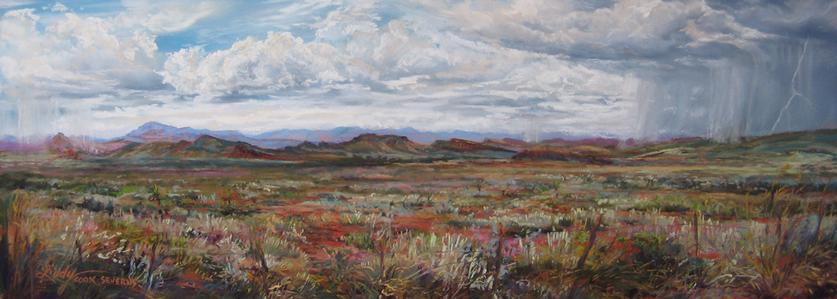 When the Rains Come, panoramic pastel landscape painting of the Davis Mts in West TX by Lindy C Severns, Fort Davis TX artist