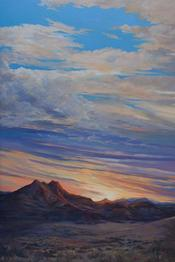 Etched By Ten Thousand Sunsets oil landscape painting by Lindy C Severns, Twin Peaks in Brewster County, Texas