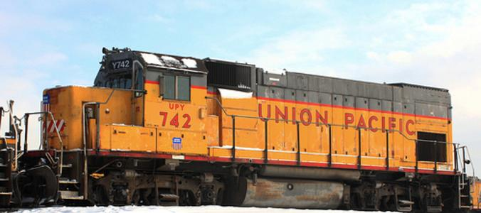 Union Pacific Yard (UPY) No. 742, an EMD GP15-1, idles in Union Pacific's Global 1 intermodal yard in Chicago, IL.