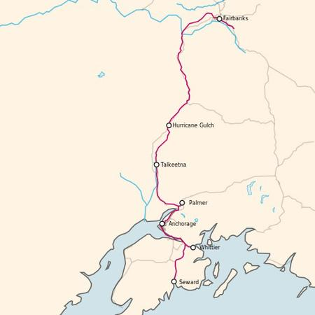 A Map of the Alaska Railroad.
