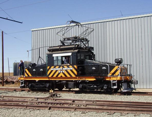 Restored SNRR Motor 654 operating at the museum at Rio Vista , California 2007.