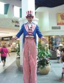 Stilt Walkers for parades. Uncle Sam for parade floats