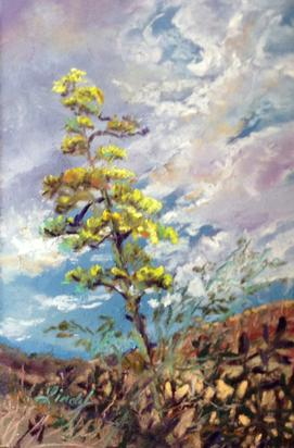 CENTURY BLOOM, original miniature pastel painting by Texas artist Lindy C Severns, Fort Davis TX