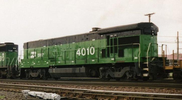 BN 4010, a B30-7A, working in Aurora, Illinois, in 1993.