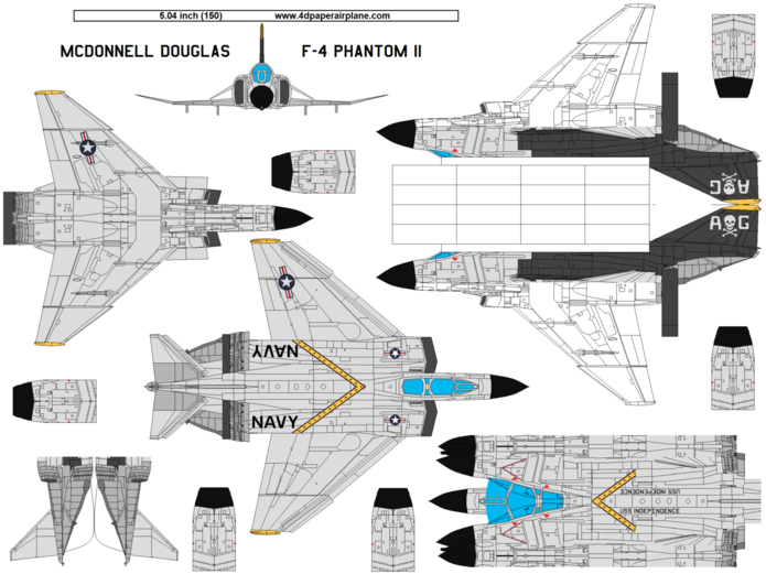 DIY 4D model template of McDonnell-Douglas F-4 Phantom