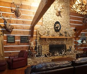 The Hunting Lodge Is Perfect Retreat After Hunt Relax By Massive Stone Fireplace And Enjoy What We Hope A Top 10 Deer