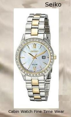 Product specifications Watch Information Brand, Seller, or Collection Name Seiko Watches Model number SUT074 Part Number SUT074 Item Shape Round Dial window material type Hardlex Display Type Analog Clasp Push-Button Clasp Metal stamp none Case material Stainless steel Case diameter 28.1 millimeters Case Thickness 7.2 millimeters Band Material Two-tone stainless steel Band length Women's Standard Band width 14 millimeters Band Color Two Tone Dial color Mother of pearl Bezel material Stainless steel Bezel function Stationary Calendar Date Special features Water Resistant, Date Item weight 6.40 Ounces Movement Japanese quartz Water resistant depth 99 Feet,watch repair near me