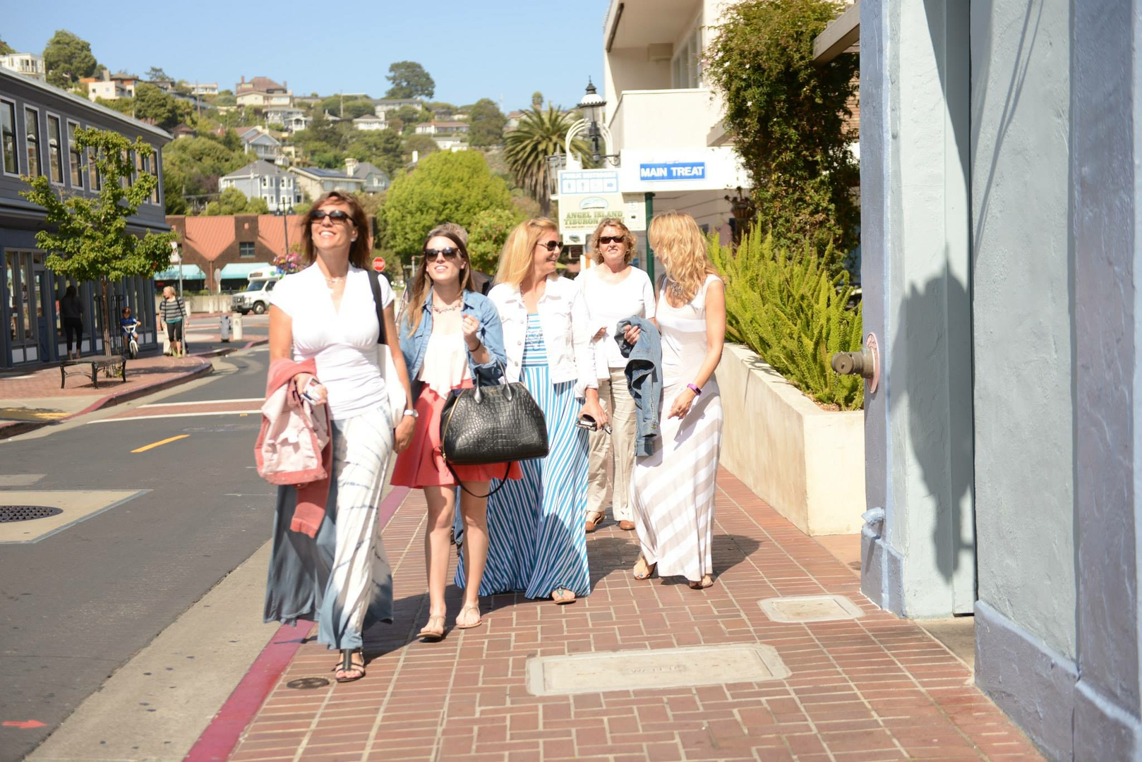 Group of Friends Walking the Streets of Marin County