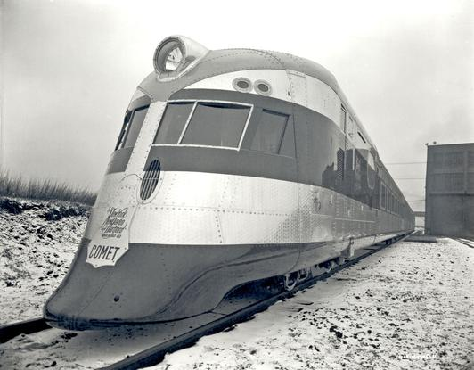 Photo of the New York, New Haven and Hartford's beautiful streamliner The Comet, built by Goodyear-Zeppelin.