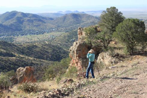 Jim Severns looks across the Davis Mountains for Lindy