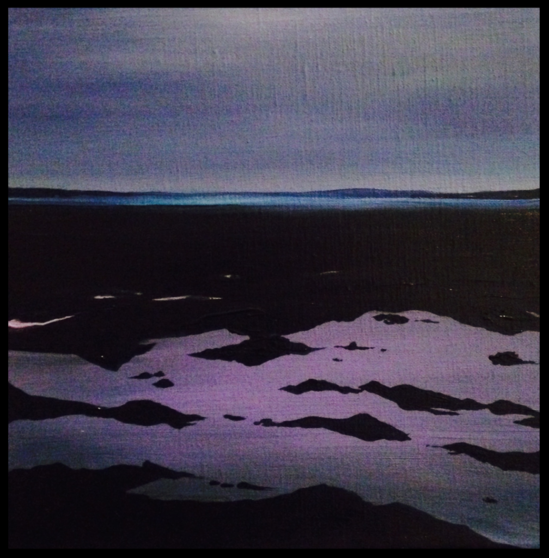 A Violet Tide 30x30cm. Acrylic paint on canvas. Blue and violet contemporary seascape painting by Irish artist Orfhlaith Egan. Currently on view at the Beyond the Sea exhibition, Caffetteria Buchhandlung, Tucholskystraße 32, 10117 Berlin-Mitte.