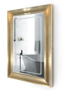 41ed1748ff1e LED Lighted 24 Inch x 36 Inch Bathroom Gold Frame Mirror with Defogger  Illuminated Golden Mirror + Built In Defogger + LIFETIME Warranty