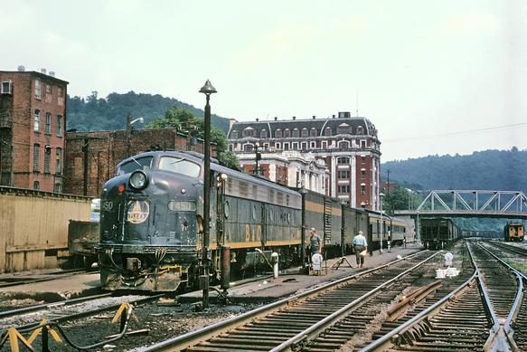 B&O E8A No. 1450 with train No. 11, The Metropolitan, at Grafton, WV, July 25 1970. Photo by Roger Puta.