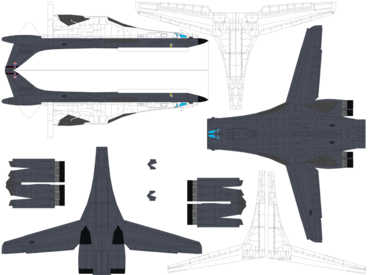 4D model template of Rockwell B-1B Lancer