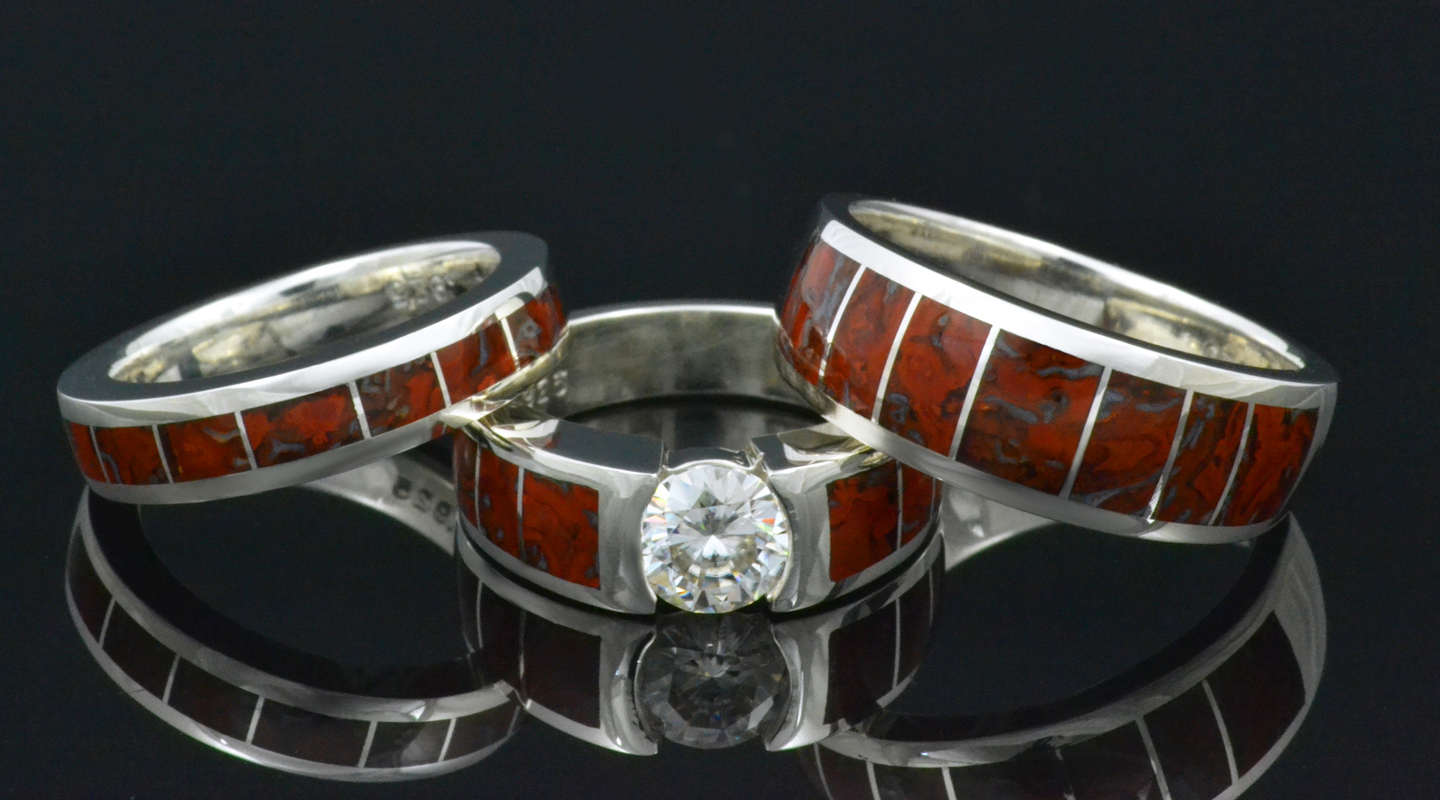 set ring meteorite dinosaur band bone wedding engagement and unique rings with alexandrite bridal media