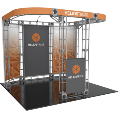 Helios 10x10 Orbital Express Truss trade show booth exhibit left side view.