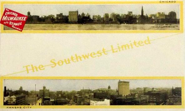 A Southwest Limited postcard featuring the skylines of Chicago and Kansas City, circa 1908.