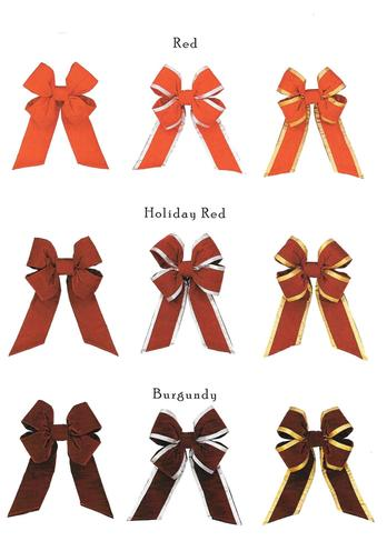 Universal Concepts Outdoor quality Christmas bows come in a variety of fabrics and colors!