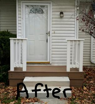 Small Porch after Painting Door and staining