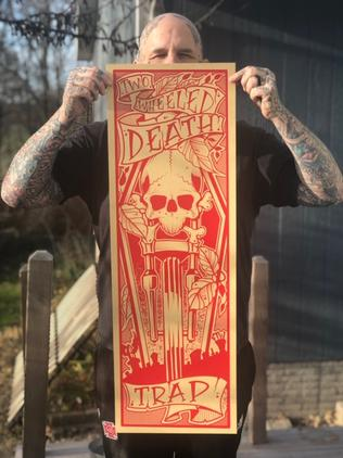 "Death Trap Screen Printed Poster 12"" x 36"""