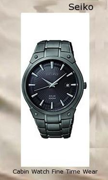 Seiko SNE325 Men's Black Ion Finish Solar Calendar Dress Watch