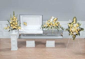 NB-AFD-CTT32 Coordinated Floral display pictured (4 pieces) Pedestal, Lid, Bible Casket, Standing $670.00