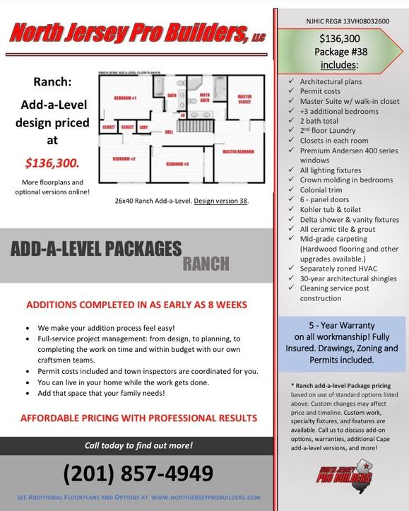 North Jersey Pro Builders | Ranch add-a-level floor plan 38