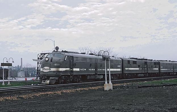 New York Central EMD E8A No. 4095 at Englewood Union Station, Chicago, Illinois on April 21, 1965. Photo by Roger Puta.