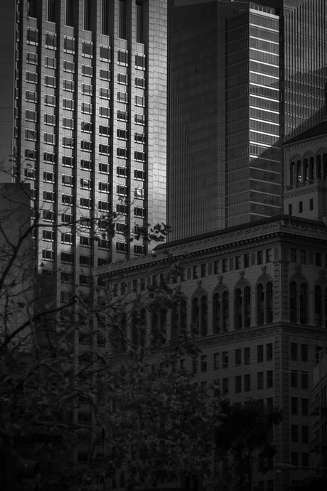 san francisco architectural contrast clash black and white