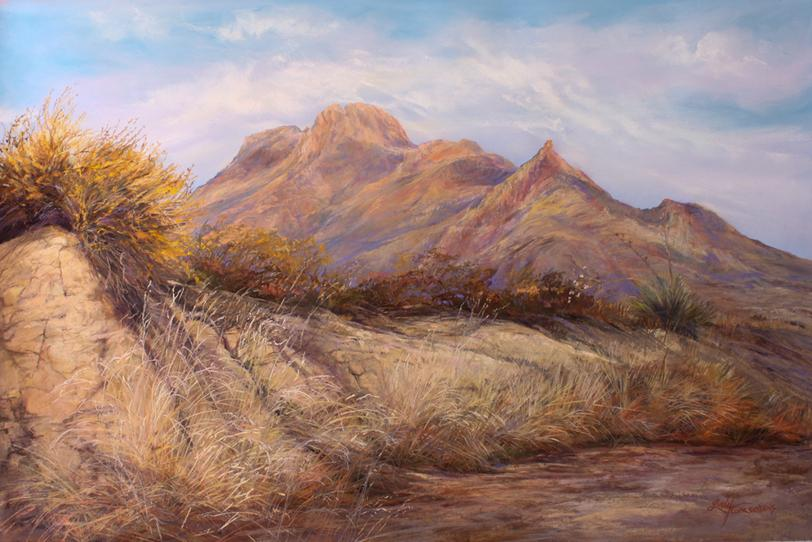 Desert Waking, large Lindy C Severns pastel landscape painting for sale. Bee Mountain, Terlingua, TX. Old Spanish Trail Studio, Fort Davis TX