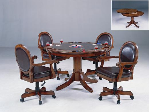 cherry wood game table with chairs