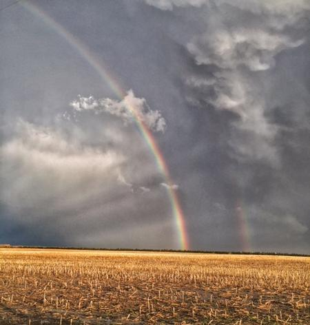 Akron, Colorado supercell rainbow while storm chasing