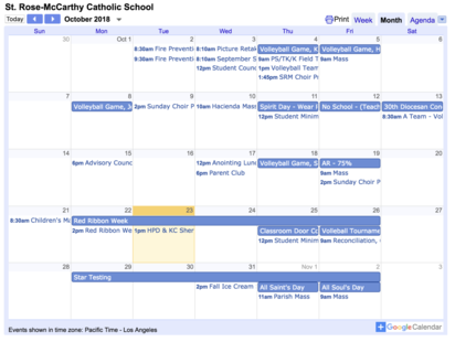 St. Rose-McCarthy Monthly Calendar