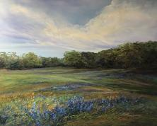 Texas Blues, pastel landscape painting of bluebonnets by TX artist Lindy Cook Severns