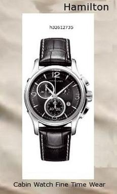 Watch Information Brand, Seller, or Collection Name Hamilton Model number H32612735 Part Number H32612735 Model Year 2011 Item Shape Round Dial window material type Anti reflective sapphire Display Type Analog Clasp Buckle Case material Stainless steel Case diameter 42 millimeters Case Thickness 12 millimeters Band Material Alligator leather Band length Men's Standard Band width 22 millimeters Band Color Black Dial color Black Bezel material Stainless steel Bezel function Stationary Calendar Date Special features Chronograph Movement Swiss quartz Water resistant depth 330 Feet, hamilton watch