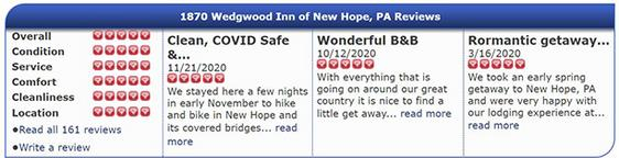 Customer Reviews from iLoveinns.com for Wedgwood Inn. This image is a link to more reviews.