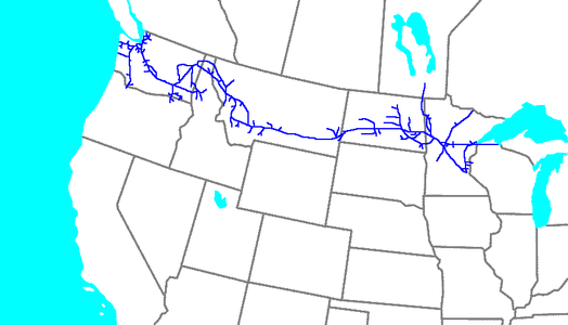Map of the Northern Pacific Railway.