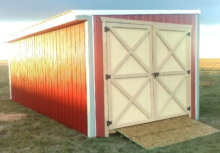 Red Storage Shed with Dutch Doors
