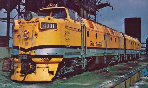 D&RGW Krauss-Maffei M4000 No. 4001 at Denver, Colorado, September 1962.