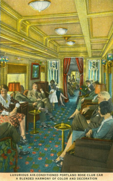 Postcard depiction of the club car on the Union Pacific Portland Rose.