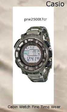 Watch Information Brand, Seller, or Collection Name Casio Model number PRW2500T-7CR Part Number PRW2500T-7CR Model Year 2011 Item Shape Round Dial window material type Mineral Display Type Digital Clasp Fancy Clasp Metal stamp None Case material Stainless steel Case diameter 20.5 millimeters Case Thickness 15 millimeters Band Material Titanium Band length Mens-Standard Band width 20 millimeters Band Color Silver Dial color Black Bezel material Aluminum Bezel function Stationary Calendar Day, date, and month Special features Chronograph, Depth measurement, Light, Radio controlled, Timer Item weight 4 Ounces Movement Japanese quartz Water resistant depth 660 Feet