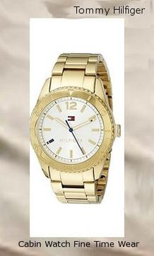 oduct specifications Watch Information Brand, Seller, or Collection Name Tommy Hilfiger Model number 1781268 Part Number 1781268 Item Shape Round Dial window material type Mineral Display Type Analog Clasp Push-Button Clasp Case material Gold tone Case diameter 38 millimeters Case Thickness 11 millimeters Band Material Gold-plated stainless steel Band length Women's Standard Band width 20 millimeters Band Color Gold Dial color Silver Bezel material Gold tone Bezel function Stationary Special features measures-seconds Item weight 4.64 Ounces Movement Quartz Water resistant depth 99 Feet
