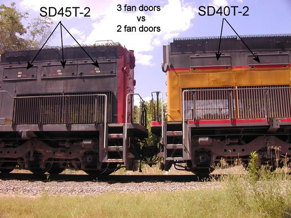 EMD SD45T-2 vs SD40T-2 radiator fan motor access doors.