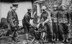 Gurkha soldiers sharpening their kukris in the First World War