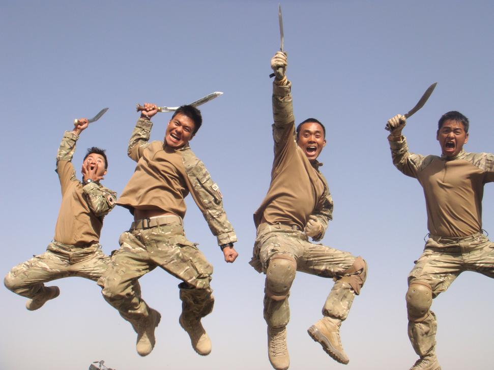 Gurkhas in Afghanistan with their kukris